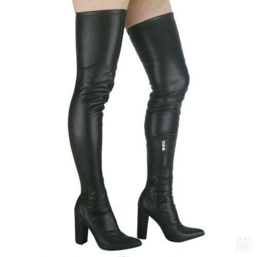 Womens Pointy Toe Block Heels Over The Knee Stretch Thigh High Boots Runway Club