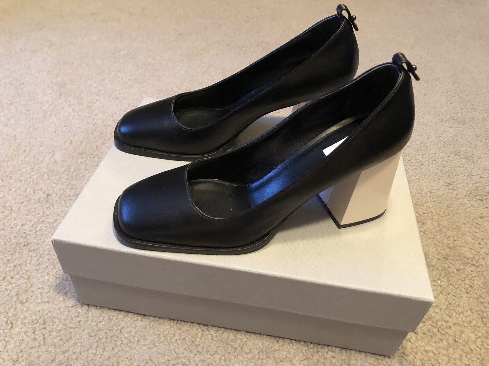 MaxMara scarpe  Leather Orig  670 nero bianca Heels  SZ 38 US SZ 8  centro commerciale di moda