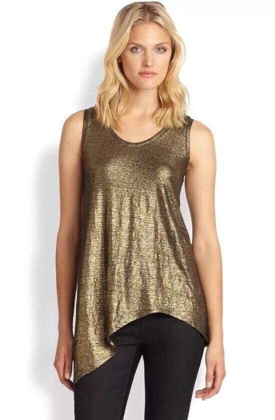 L  EILEEN FISHER NEW Gold Linen Metallic Shimmer schwarzGold Tank Top Shirt