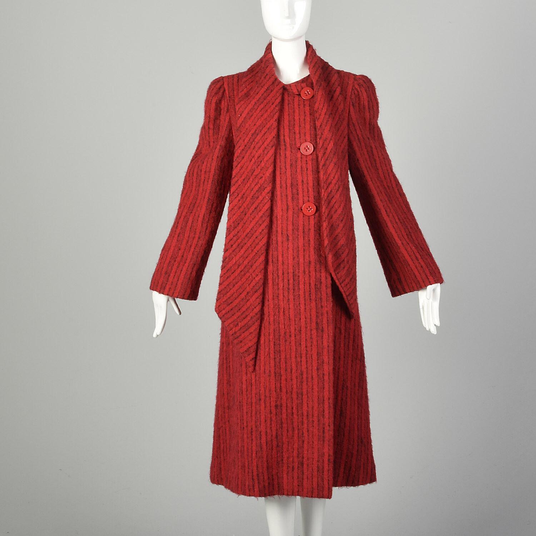 Medium 1980s Pauline Trigere Coat Red Black Strip… - image 2