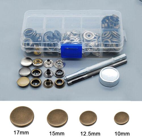 50 bouton pression métal Argenté Bronzé outil à fixer cuir maroquinerie 10-17mm
