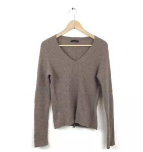 The-Row-Sweater-L-Brown-Nut-Cashmere-Cable-Knit-V-Neck-Pullover-Jumper-Women-s