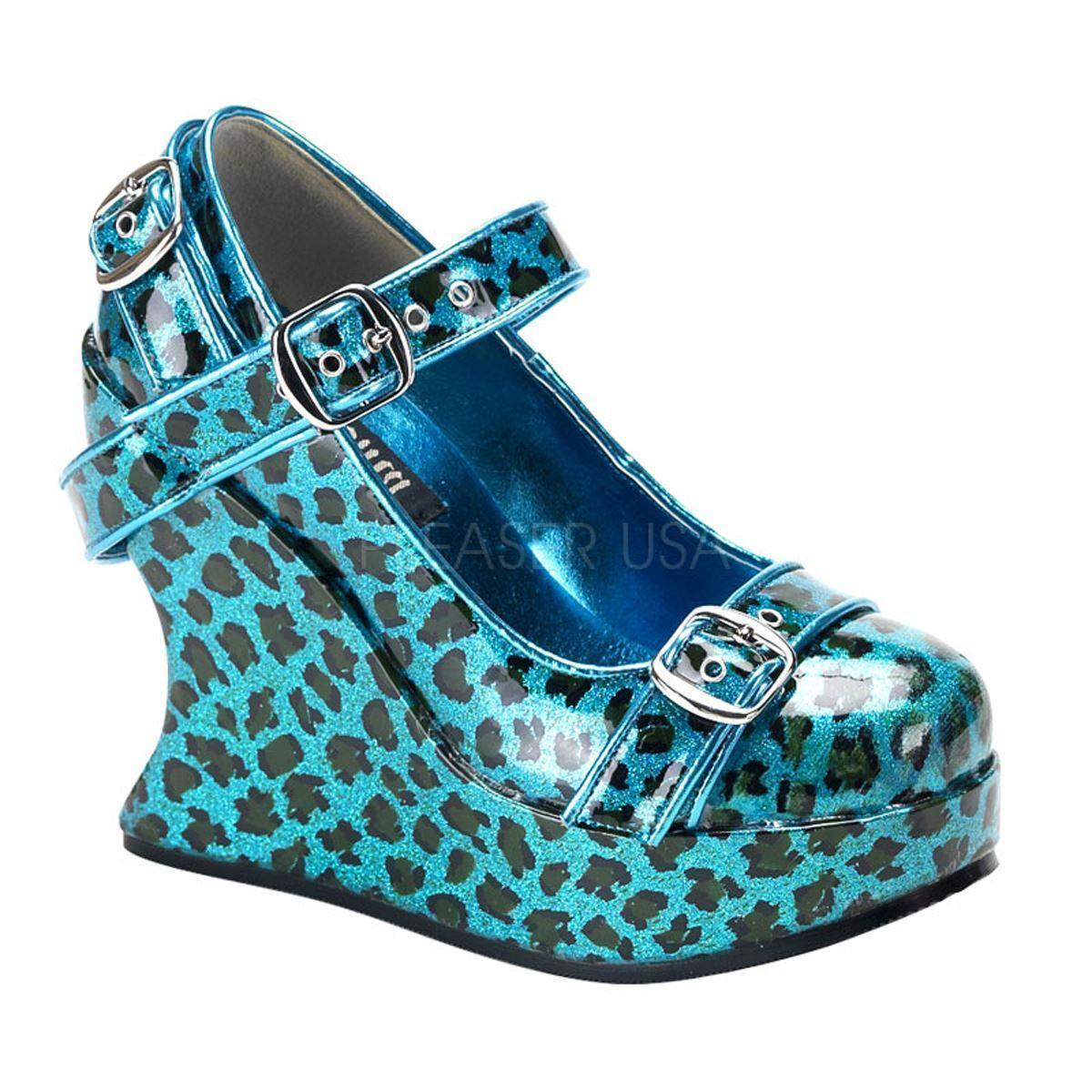 Demonia Platform Goth Lolita Punk Mary Jane Wedge Turquoise/Cheetah
