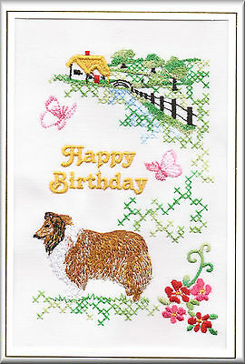 Bearded Collie Birthday Card or Notecard Embroidered by Dogmania