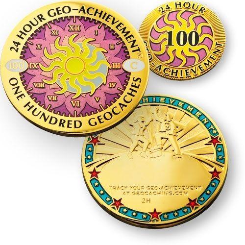 72 o 100 trova in 24 Ore Geocaching Risultato Geocoin e Pin Set 48 24