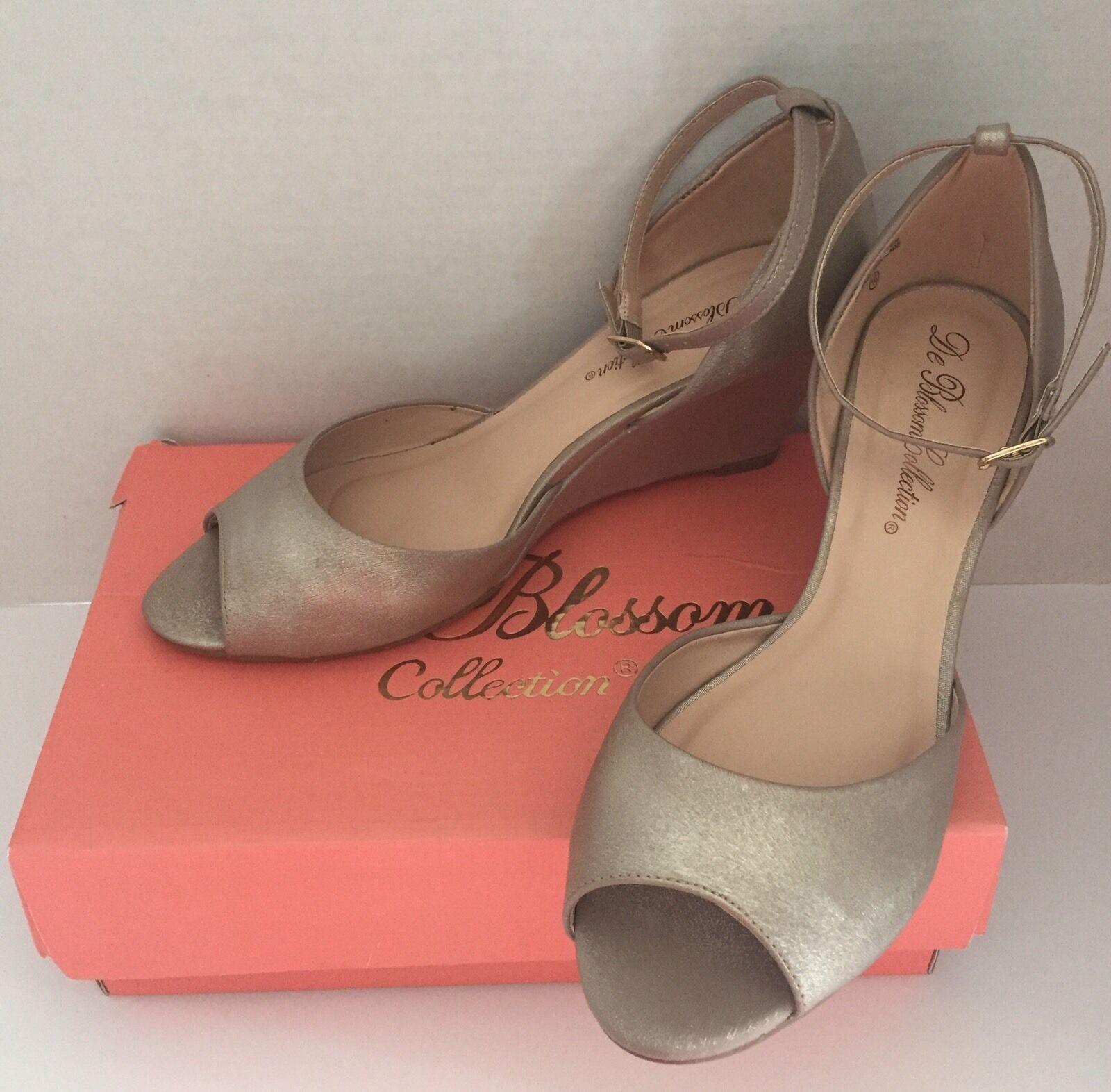 De Strap Blossom Womens Open Toe Dressy Wedge Ankle Strap De Sandals Nude Shimmer 10 5890f9