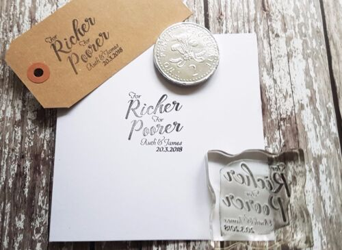 Wedding Favours Personalised stamp for richer for poorer custom Wedding stamp