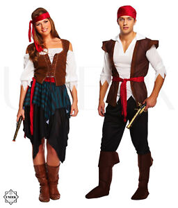 Image is loading Adult-Caribbean-Pirate-Fancy-Dress-Costume-Couple-Shipmate-  sc 1 st  eBay & Adult Caribbean Pirate Fancy Dress Costume Couple Shipmate Halloween ...