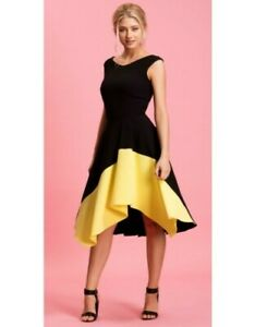 quite nice promo codes detailing Details about Eden Row Naples Black and Yellow Dress Available size UK 12  BNWT - RRP £159