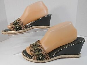 7e314fa6ff5778 Image is loading Colin-Stuart-Womens-Wedge-Sandals-Slides-EU-41-