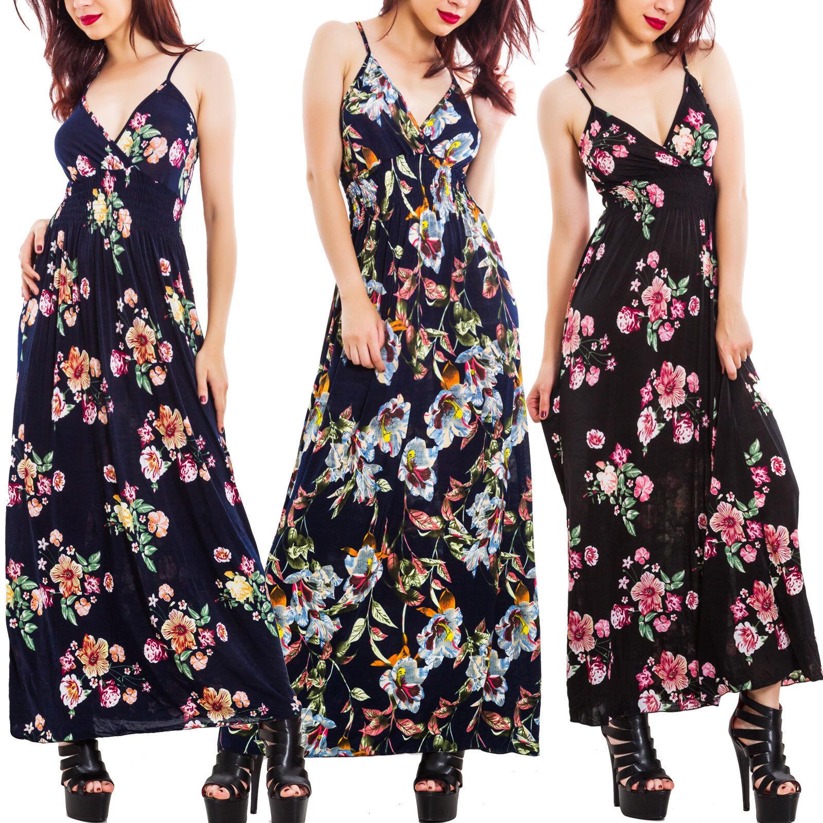 Robe femme longue robe maxi motif V à fleurs cou en V motif floral élégant  sexy 03e94bf050a