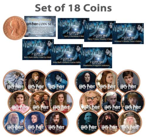 HARRY POTTER Deathly Hallows Licensed UK British Half Penny *COMPLETE18 COIN SET