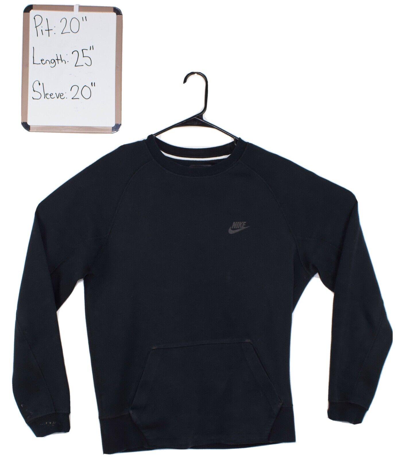 Nike Tech Fleece Crewneck Sweatshirt Men's Size Small Black Long Sleeve  Pockets
