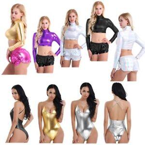 Sexy-Para-mujeres-Crop-Top-Camisa-Camiseta-Top-Metalico-Aspecto-Mojado-Ropa-de-club-Baile-Camiseta
