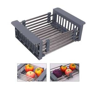 Retractable-Sink-Filter-Rack-Drain-Counter-Basket-Kitchen-Durable-Dish-Drainer