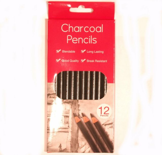 Pack of 12 Good Quality Charcoal Artist's Pencils - Blendable and Long Lasting