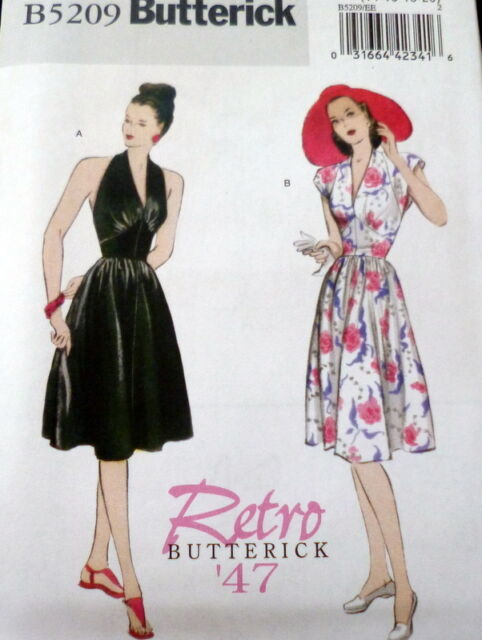 1940s Halter Dress Butterick Retro Sewing Pattern 6-8-10-12 UC | eBay