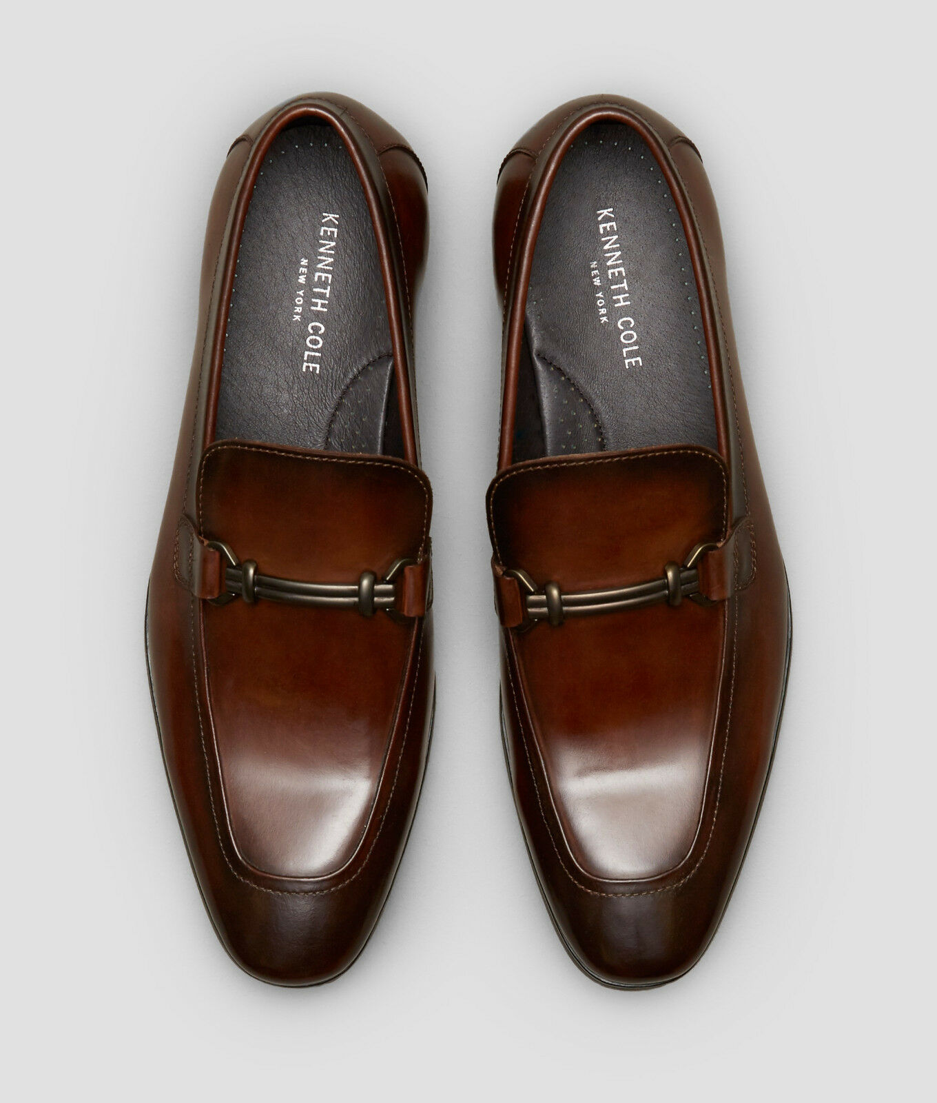 NIB Kenneth Cole New York Men's Spare Time Slip On Leather Loafers in Cognac