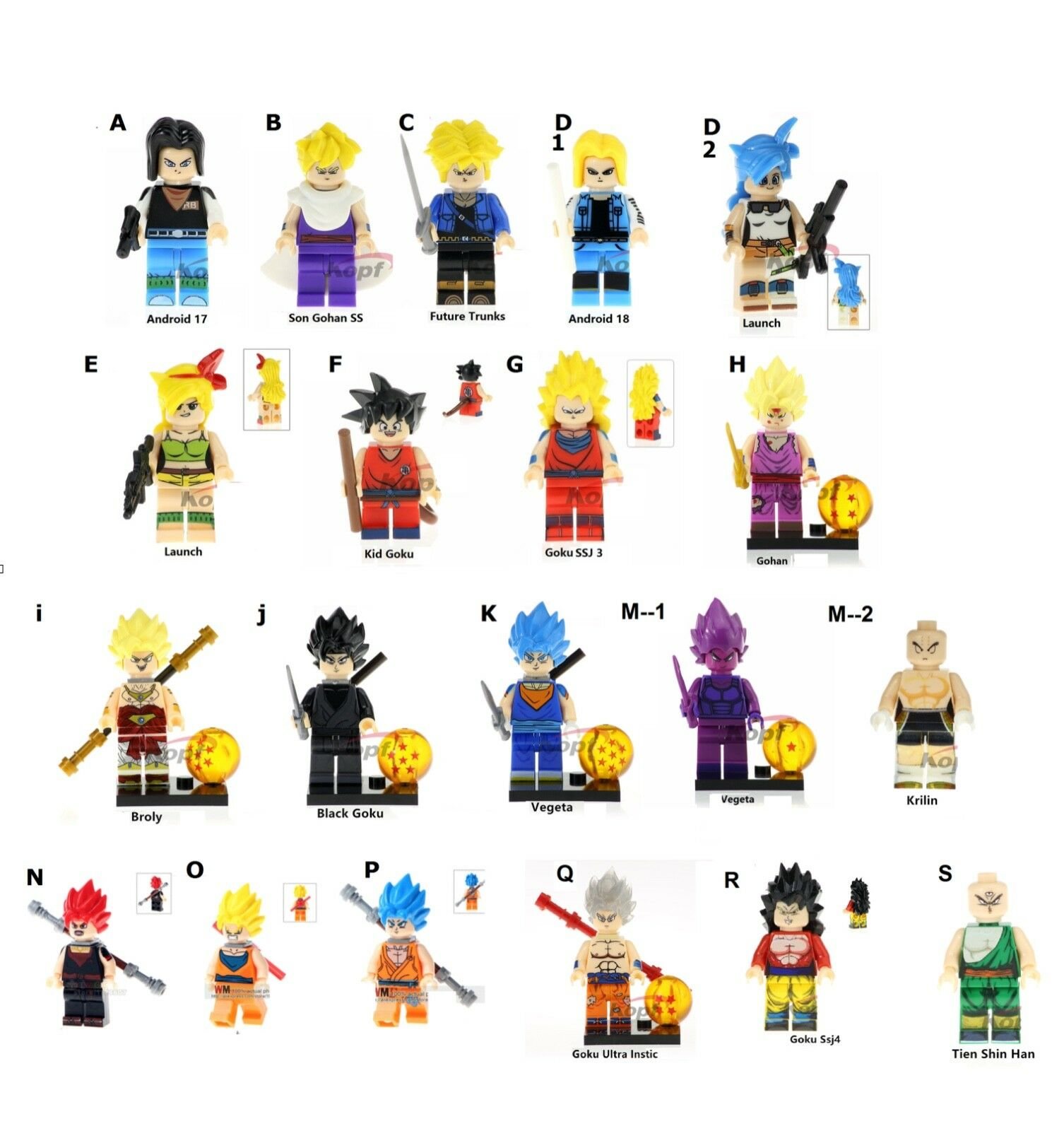 Dragon Goko Ballz anime lego size all characters