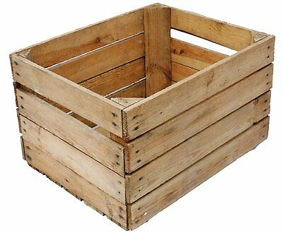 Wickerfield Lovely Brown Wooden Crates Storage Rack Shelves Christmas Eve Gift Hamper Box 1, Large