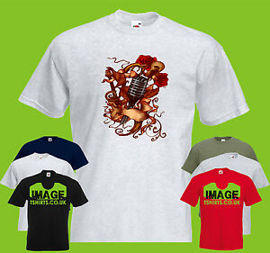 Guitars And Roses Mens PRINTED T-SHIRT Art Music Band Instruments Microphone