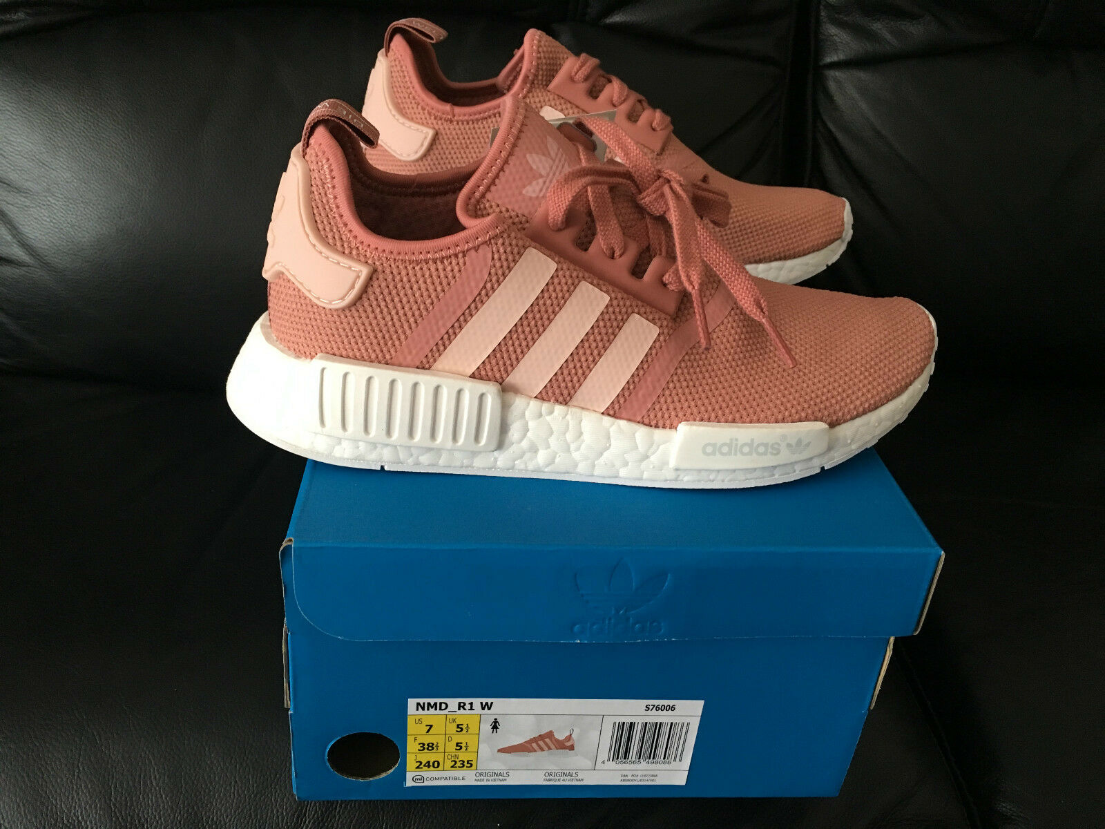 ADIDAS NMD R1 RUNNER RAW VAPOUR PINK MESH ALL UK SIZES 4 4.5 5 5.5 6 6.5 7 8 NEW