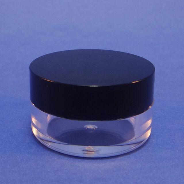 5/10/25/50-Storage Container Travel Size Empty Plastic Mini Jar 5 Gram Black Lid