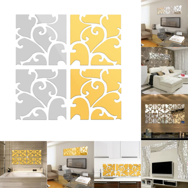 9 PCS Square Wall Stickers Mirror Wall Decal Home Room Decor DIY Best