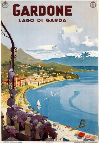 Tu99 Vintage 1930/'s Italian Italia Gardone Lago de Garda viajar Cartel A2 A3