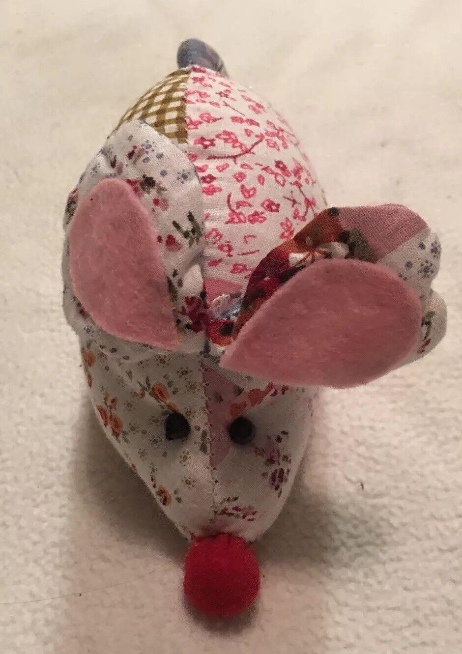 "Patchwork Mouse Plush Long 2.5"" Tall X 5"" Long Plush 2d322a"