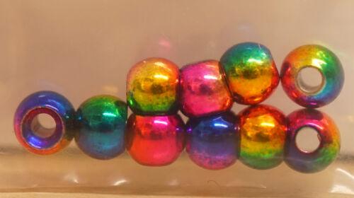 Messing Perlen 10 Stück 4,6 mm ELOXIERT RAINBOW 4,6 mm