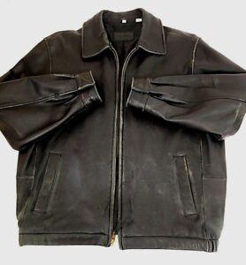 Savile-Row-Mens-Jacket-Bomber-Flight-Distressed-Leather-Black-Coat-Size-Medium