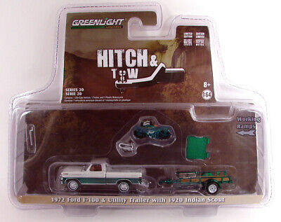 1972 Ford F-100 Truck /& Trailer /& 1920 Indian Motorcycle 1//64 Greenlight 32200