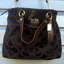 COACH Brown Sateen Monogram Brooke Op Art Satchel Handbag $298