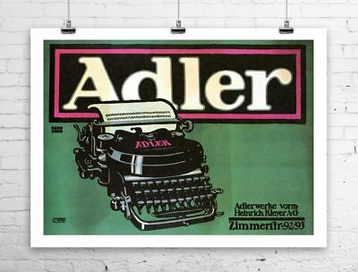 Adler 1909 Antique Typewriter Advertising Poster Canvas Giclee 32x24 in.