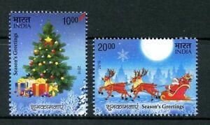 India-2016-Christmas-2v-Set-Father-Christmas-Tree-Stamps-MNH