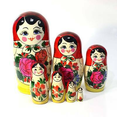 "hand painted #1 h=2.7/"" Russian Semenov Nesting dolls Matryoshka set 3 pcs"