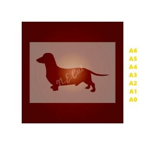 DACHSHUND-Dog-Stencil-Strong-350-micron-Mylar-not-Hobby-stuff-DOGS010
