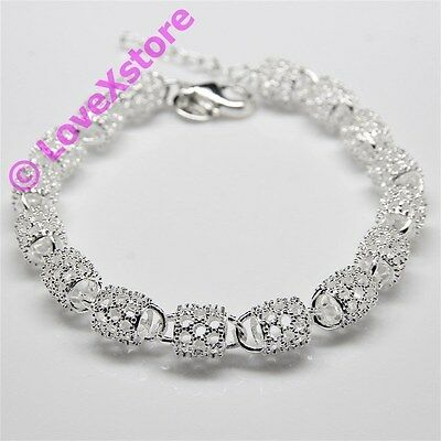 925 Sterling Silver Plated Spark Engrave Barrels Chain Bracelet Bangle Bracelets