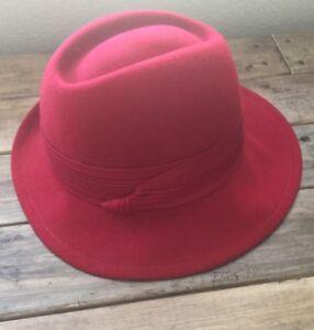 ebd9391fa54 Image is loading Vintage-Ladies-Womens-Fedora-Red-100-Wool-Hat