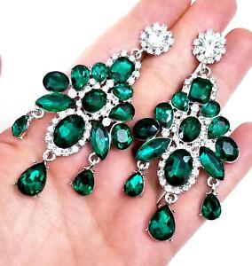 Green-Chandelier-Drop-Earrings-Rhinestone-Crystal-3-4-inch-Pageant