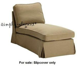 new ektorp cover for ikea ektorp chaise lounge idemo beige w lighter piping ebay. Black Bedroom Furniture Sets. Home Design Ideas