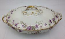 CH Field Haviland Limoges Covered Vegetable Bowl/Lidded Tureen Purple Violets
