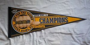 VINTAGE-NFL-PITTSBURGH-STEELERS-SUPER-BOWL-XL-ONE-FOR-THE-THUMB-PENNANT-CHAMPS