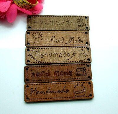 50pcs 6.4x1.7cm HANDMADE SIGN MIXED Wood Label  Sewing Logo Tape Tag E231