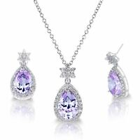 White Gold Alexandrite Drop Pear Cut Star Silver Necklace Earring Set - 16