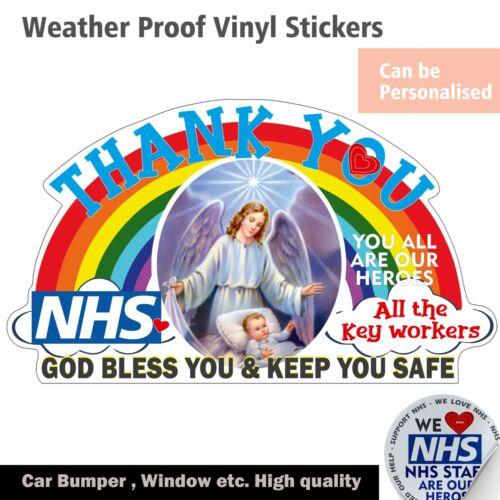Rainbow God Bless vinyl Sticker Thank You NHS/&Key workers  Car bumper Bin  decal