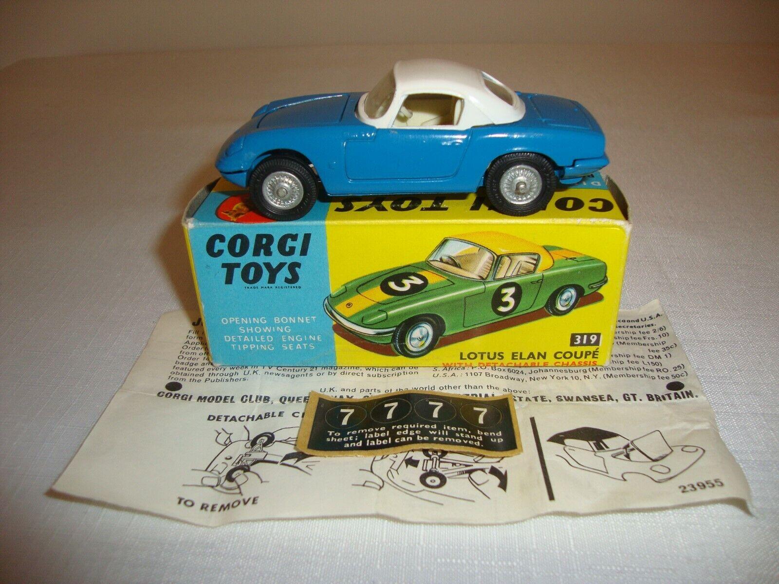 Corgi 319 Lotus Elan Coupe con chasis Desmontable-Nr Menta en Caja Original