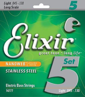 ELIXIR 14777 NANOWEB COATED STAINLESS STEEL BASS STRINGS, LIGHT  5's - 45-130