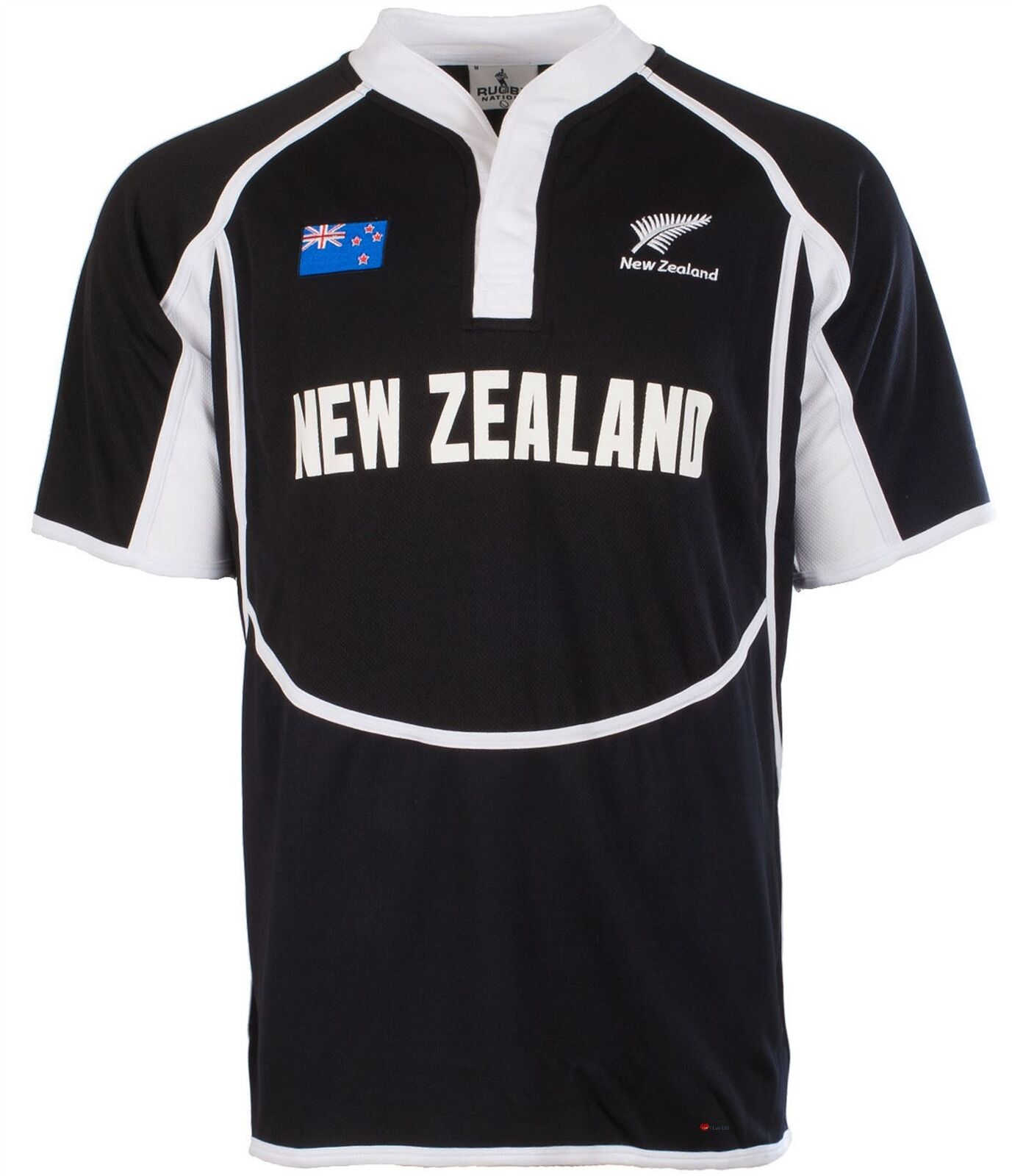 Gents Cooldry Style Rugby Shirt In New Zealand Colours Größe X-Small